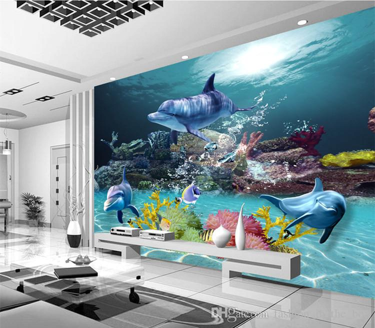 Awesome Custom 3d Wallpaper Underwater World Photo Wallpaper Ocean Wall Murals Kids  Bedroom Livingroom Nursery Shop Wedding House Room Decor Dolphin Top Rated  ...