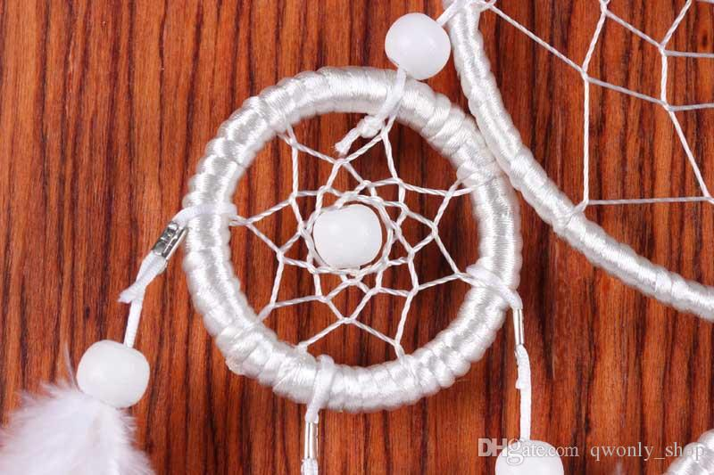 Big Dreamcatcher Wind Chime White Feather Dream Catcher Car Hanging Decoration 5 Circular Acchiappasogni Home Decor Gift