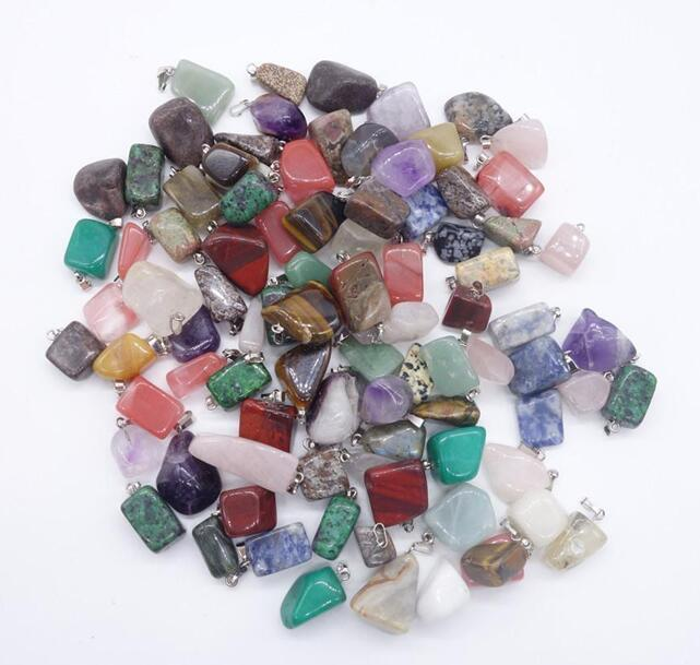 Natural Stone Pendants Irregular Jade Natural Stone Pendant Necklace Agate Stone Quartz Opal Jewelry NO CHAIN