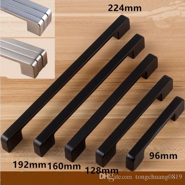 modern simple black furniture handle black 96mm 128mm 160mm 192mm