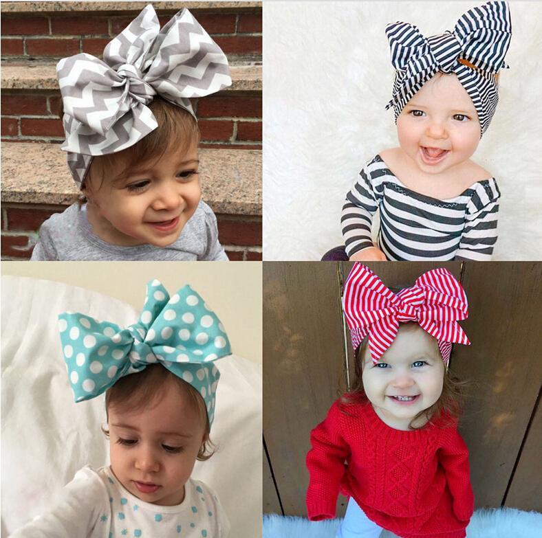 079a1e00bfd 2016 Headband DIY Tie Bow Hairbands Big Bow Cute Dot Print Baby Girls  Cotton Headbands Head Wrap Children Hair Accessory 0-6 Years Old DIY Tie  Bow Headband ...