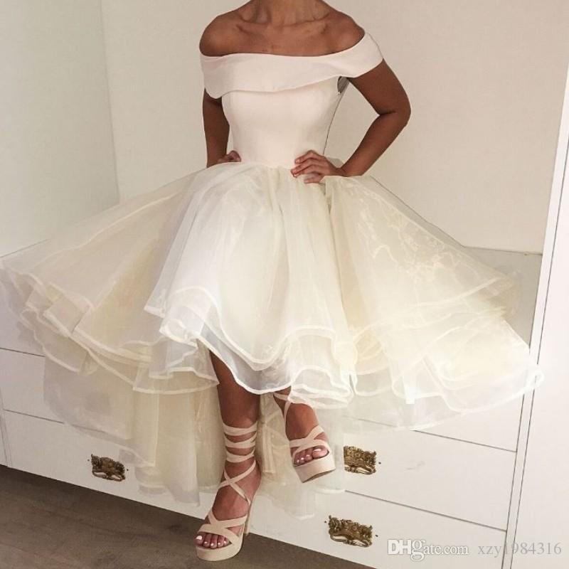 6f0533273938 Fashion Hi Lo Short Prom Dresses Off Shouder Sleeveless Fluffy Knee Length  Party Dresses New Arrival Organza Lovely Special Occasion Dresses Celebrity  ...