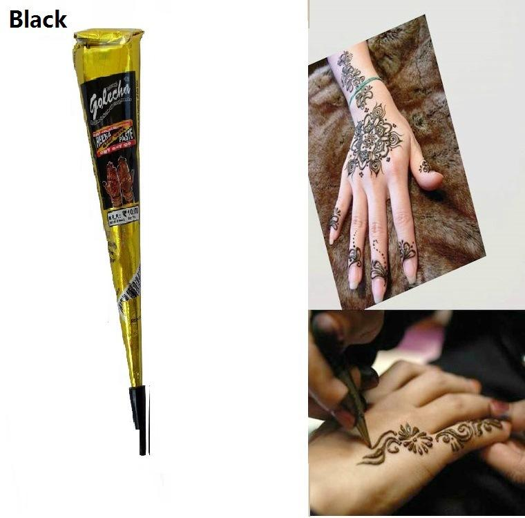 Black Henna Tattoo Paste: Black Natural Indian Henna Tattoo Paste For Body Drawing