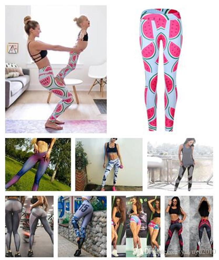 c9b478589377fe 2019 Cute Pink Watermelon Legging Printed Sport Yoga Pants Women High Waist Gym  Fitness Leggings Support Drop Shipping DHL 170916 From Yuyuyu2010, ...