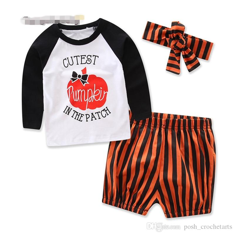 Pumpkin 3 piece Clothing Set for Baby Headband T shirt Top and Pants 2017 Halloween costumes Cute Kids outfits Clothes Set Photography Props