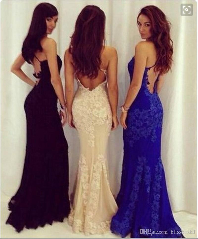 Sexy spaghetti riemen backless royal blue kant prom jurken zeemeermin vloer lengte op maat gemaakte goedkope avondjurken vestidos