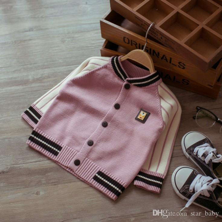 Fashion Children Outwear Baby Kids Jackets Boys Coats Soft Cotton Boys Girls Sweater Cardigans Baseball Uniform Little Devil Tops Wear 944/8
