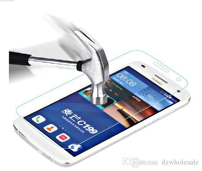 Protetor de tela à prova de explosão de vidro de vidro temperado para Huawei G521 / G610 C8815 / G620 C8817L / G660 / G730 / G7 / G7 Plus / G8 + Kit de Limpeza