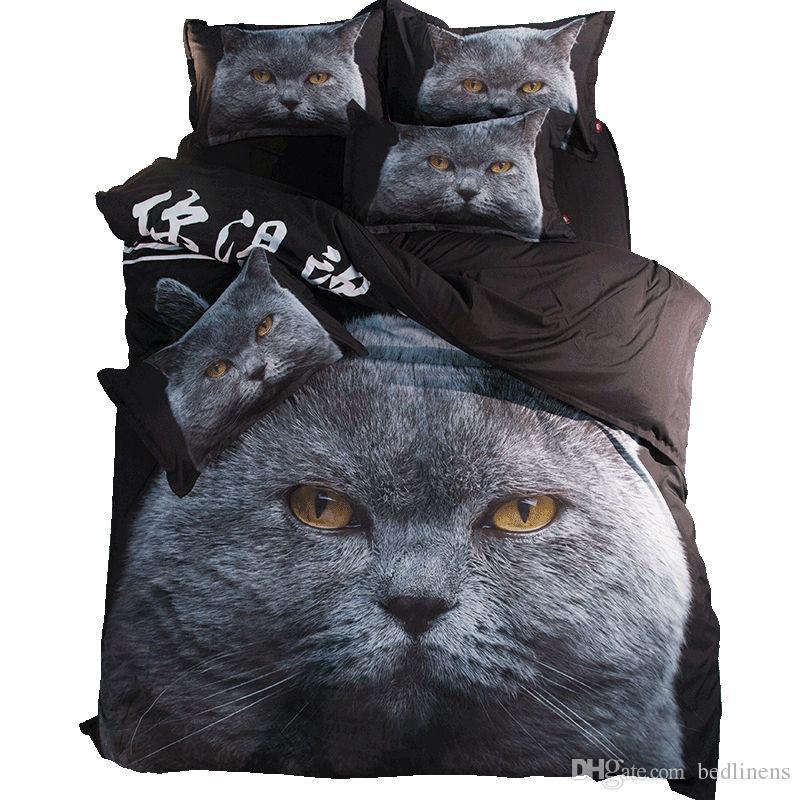 Großhandel Realistische Schwarze Katze Kopf Druck Bettwäsche Sets
