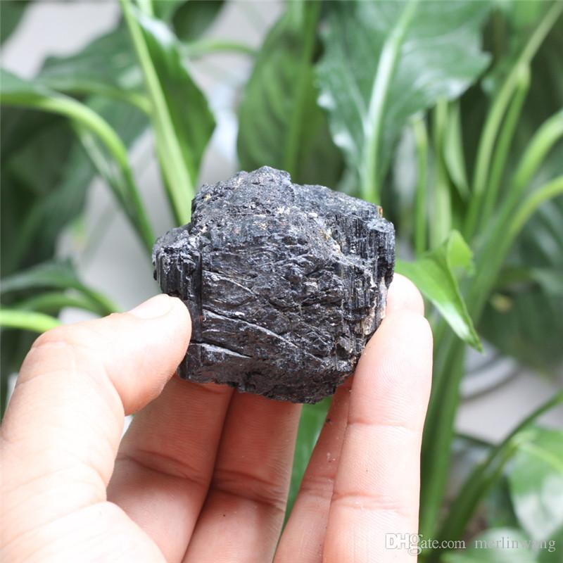 40mm Natural Black Quartz Crystal Tourmaline Rough Rock Mineral Specimen Healing