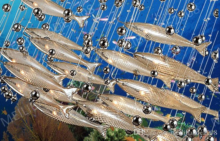 BE33 Moderne LED Glas Cognac Farbe Fliegende Fische Kronleuchter esszimmer Bar Pendelleuchten Kristall Deckenleuchten Für Wohnzimmer Hotel Lobby