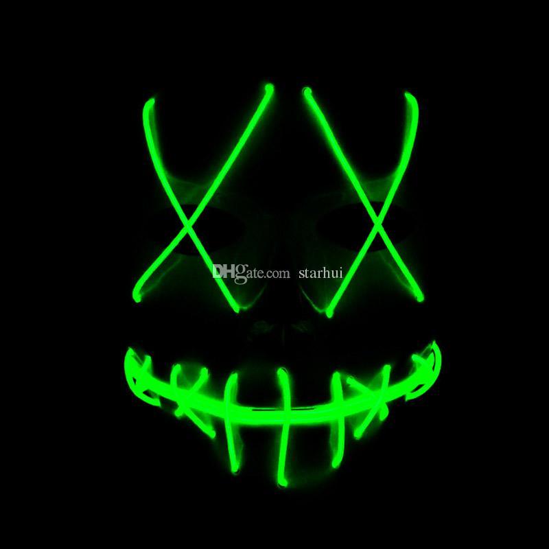 Led 할로윈 유령 마스크 퍼지 영화 엘 와이어 빛나는 마스크 가면 전체 얼굴 마스크 할로윈 의상 파티 선물 WX9-57