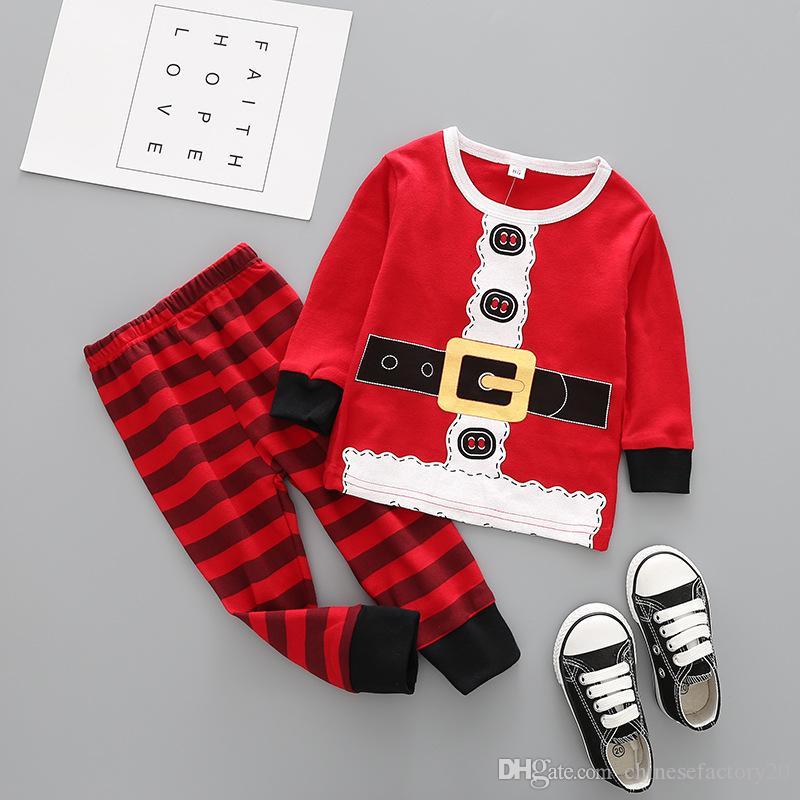 크리스마스 아기 옷 키즈 크리스마스 엘크 잠옷 세트 스트라이프 산타 클로스 정장 코튼 탑스 바지는 의상 만화 긴 소매 옷