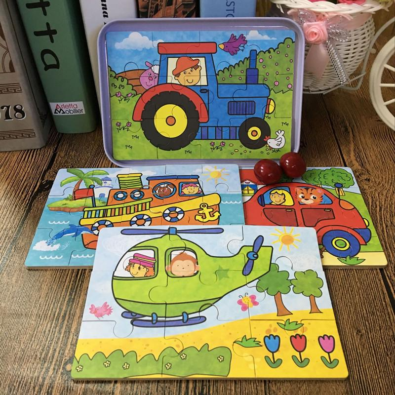 Baby Educational Toys 4 In 1 Puzzles Set 9/12/15/20Pcs Total 4 Puzzles Iron Box Cartoon Animal/ Vehicle Wooden Toys Child Gift