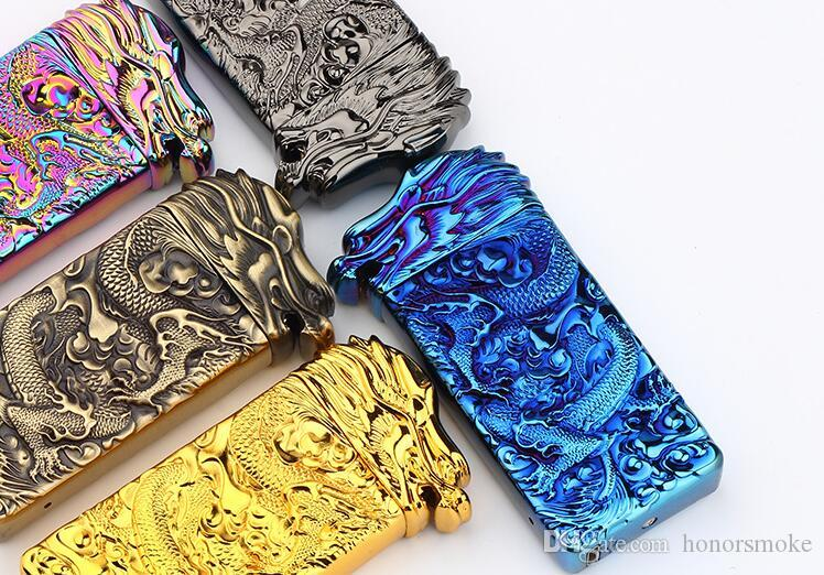 Shake Induction Ignition Lighters Engraving Dragon Arc USB Rechargeable Flameless Windproof Electronic lighter 5 colors with gift box