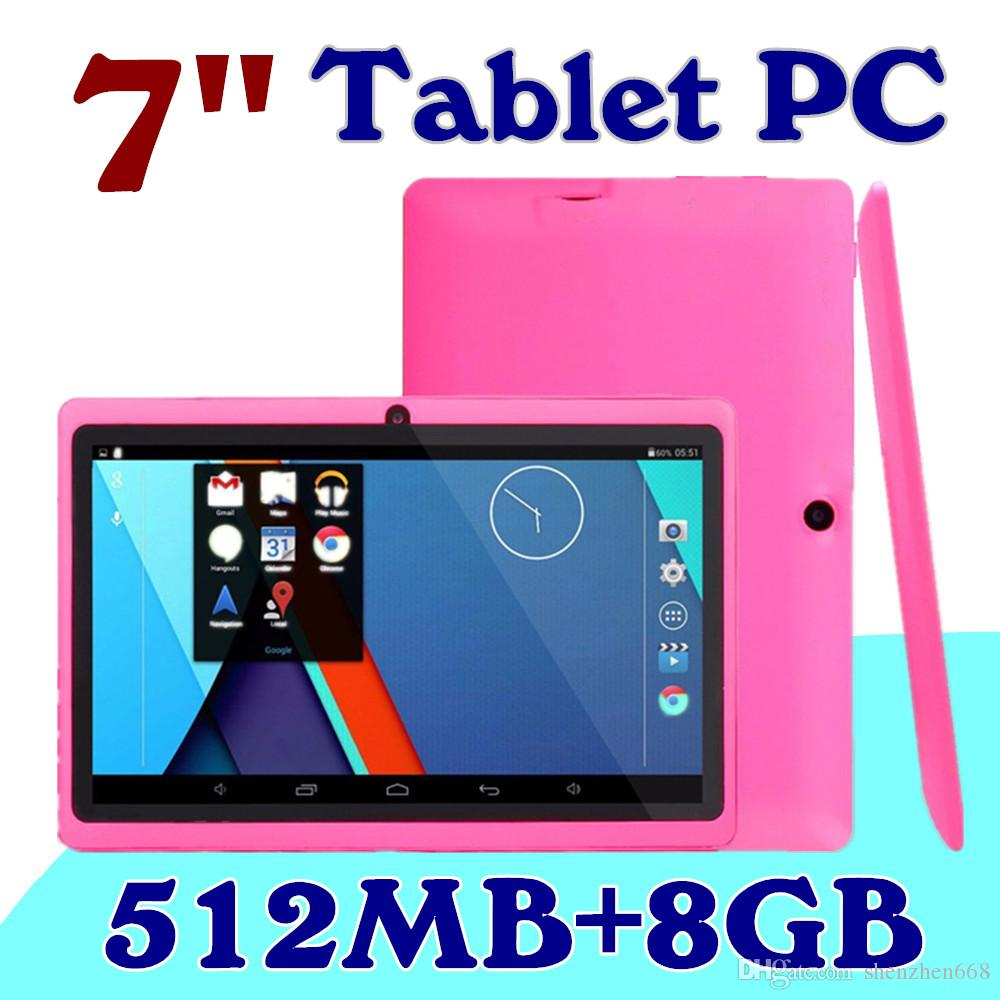 "20X DHL 2015 7"" inch Capacitive Allwinner A33 Quad Core Android 4.4 dual camera Tablet PC 8GB 512MB WiFi EPAD Youtube Facebook A-7PB"