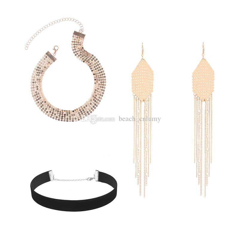Earrings+choker+necklace Jewelry Sets Women Silver/Gold Fashion fabric Multi-layer sequins tassel choker necklace Party sexy earrings sets