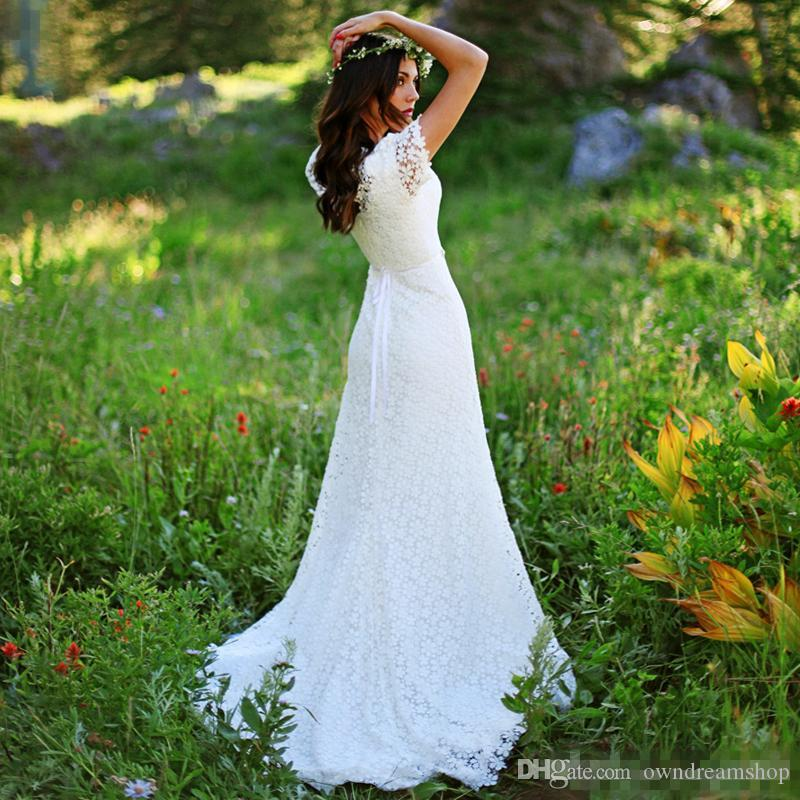Summer Country Garden Bohemian Mermaid Wedding Dresses 2016 Short Sleeves Full Lace Plus Size Classic Beach Bridal Wedding Gowns With Belt