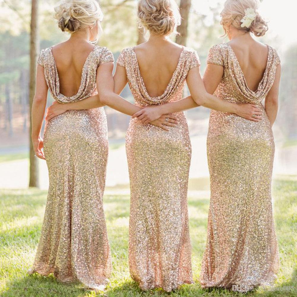Sparkly champagne gold bridesmaid dresses sequin long formal see larger image ombrellifo Image collections