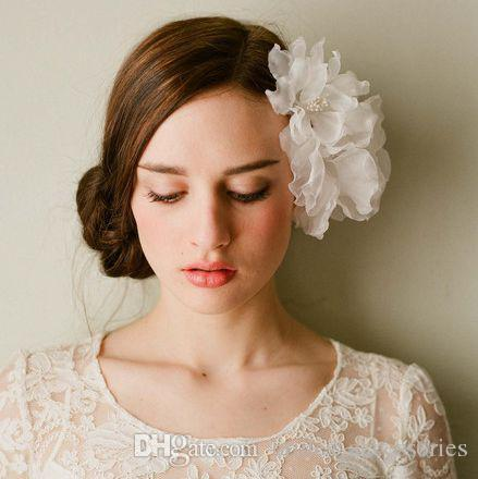 White Hair Accessories Silk Organza Flower Wedding Brides