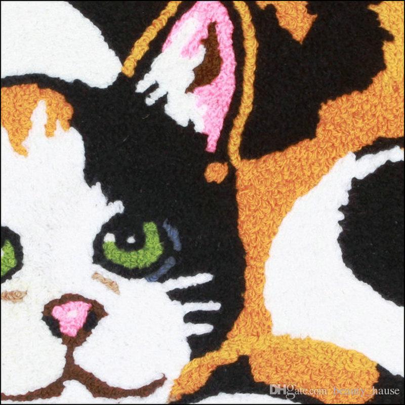 Haustürmatten nette Karikatur-Katze-Boden-Matte Kinder Kinder Schlafzimmer Fußmatte 80x60 cm Suede Classic Tier Badezimmer Teppich Geschenk