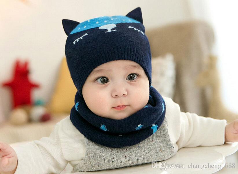 2017 Unisex bebê Gorro de Malha dupla Gorros Chapéus e Anel Cachecol Set Criança Fox Design Jacquard Inverno Quente Cap 2 Peças terno MZ5079
