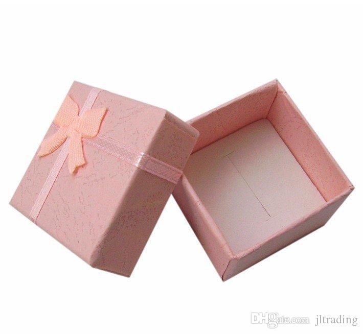 48 unids colores mezclados precio barato joyería de plata anillos arete perno prisionero cajas de regalo paquete pequeño anillo caja venta al por mayor envío gratis