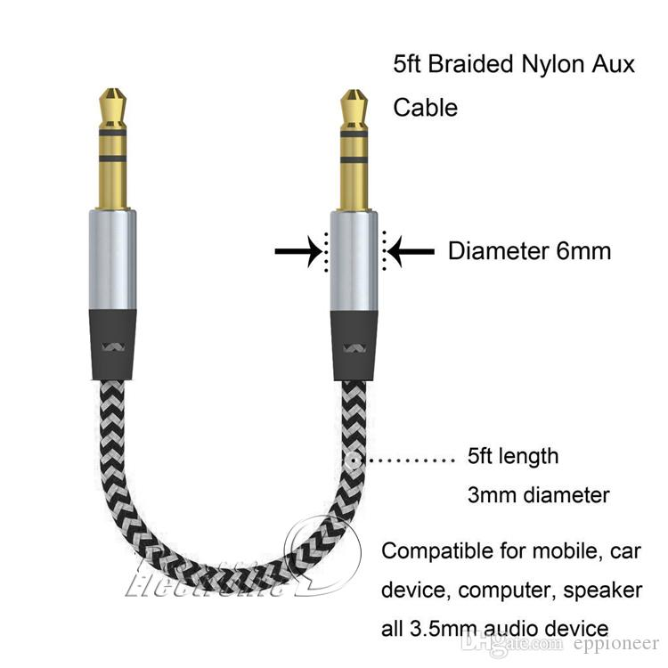 Car Audio AUX Extension Cable Nylon Braided 3ft 1m wired Auxiliary Stereo Jack 3,5 mm Macho Lead for Andrio Mobile Phone Speaker