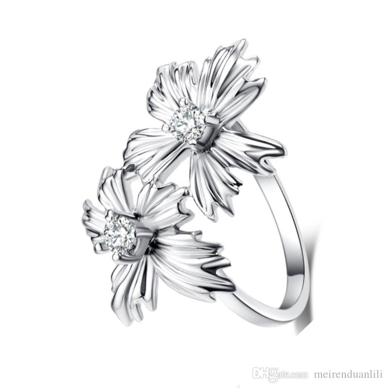 Flower Crystal Rhinestone Ring Charm New Arrival Band Ring Vintage Fashion Jewelry Rings for Women Silver Gold