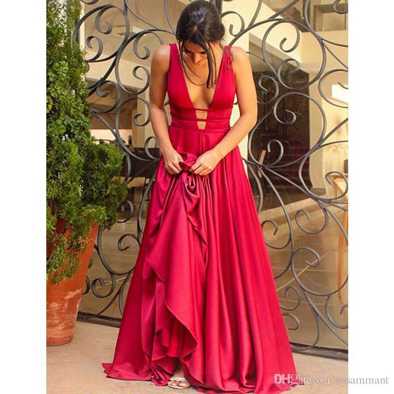 Simple plus récent élégante longue soirée robe de soirée rouge robe de bal col en V profond robe formelle dos nu
