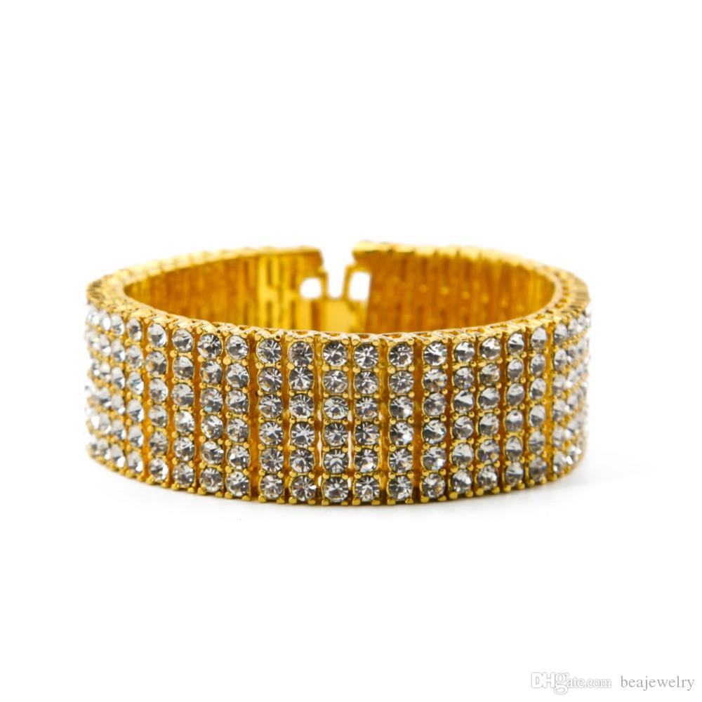Men Charm Vintage 6 Row Iced Out Bracelet 14K Gold Silver Lab Diamond Hip Hop Bracelet Fashion Jewelry Best Gift