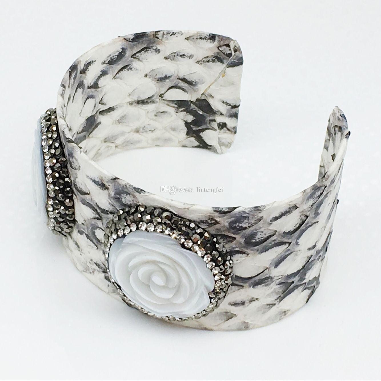 Two Pearl Rose Pattern 30cm Cuff Bangle made of Real Snakeskin High Quality Unisex Jewelry Luxury Bracelets for Women