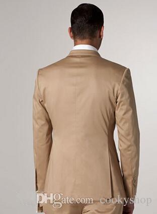 샴페인 턱시도 현대 골든 새틴 노치 옷깃 두 신랑 턱시도 남자 공식적인 저녁 웨딩 정장 슬림 피트 복장 소년 코트 + 바지