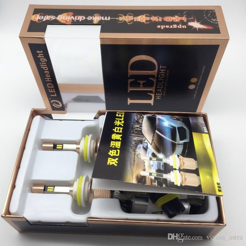 217 newest Double color H1 H3 H7 H4 LED headlight high power white and Golden yellow Dual color led car bulb 9005/9006 50W 9012 LED car Bulb