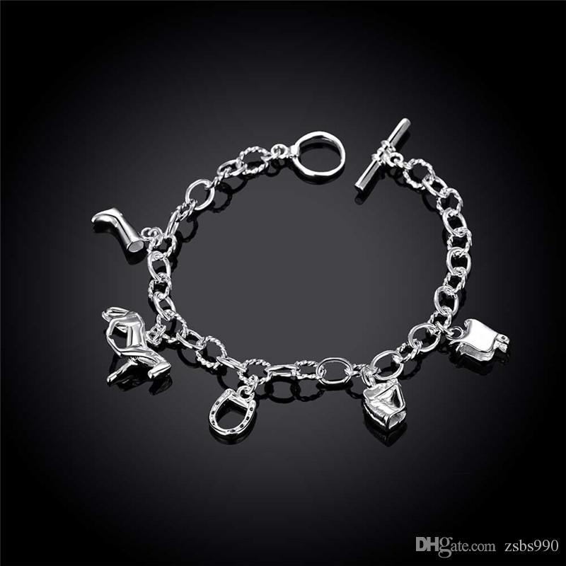Moda 925 prata ferradura pingente de charme pulseira estilo Festa presente de Natal jóias de Alta qualidade Frete Grátis