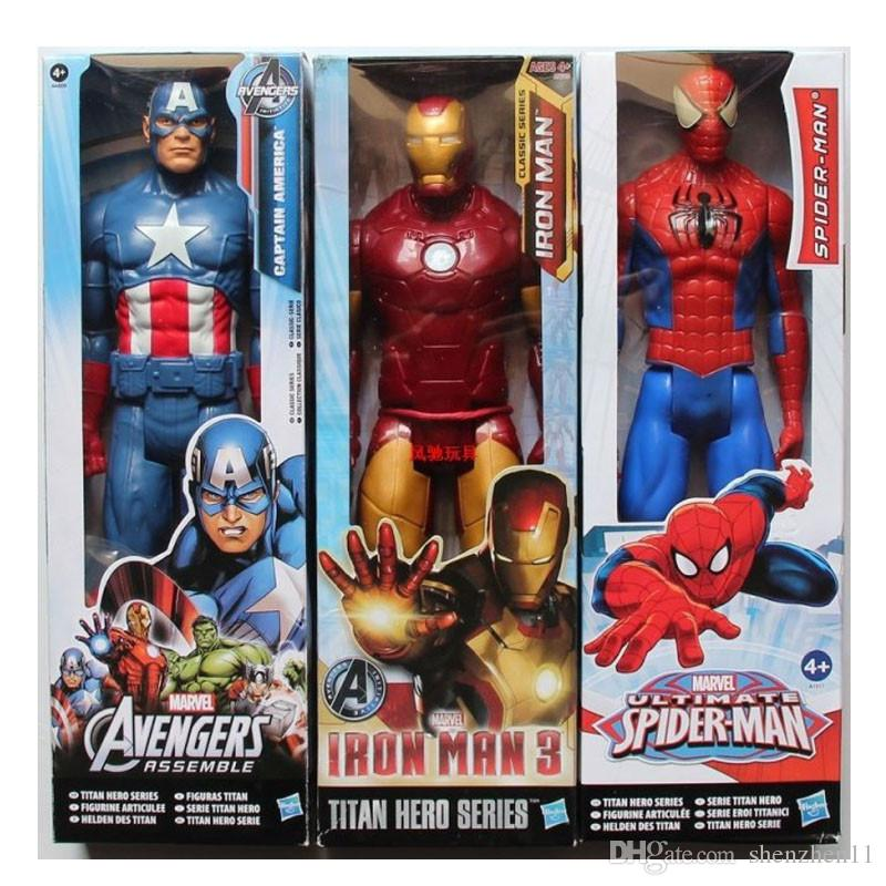 The Avengers PVC Action Figures Marvel Heros 30cm Iron Man Spiderman Captain America Ultron Wolverine Figure Toys OTH025