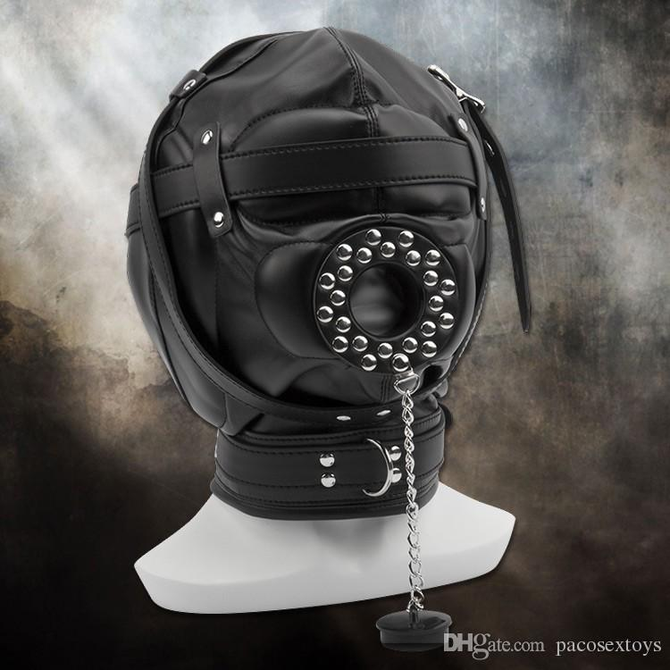 Slave Bright Muzzles Кожаные капюшоны Маска Съемная пасть во рту Фетиш-фэнтези Секс-продукт для взрослых Подголовники БДСМ Бондаж