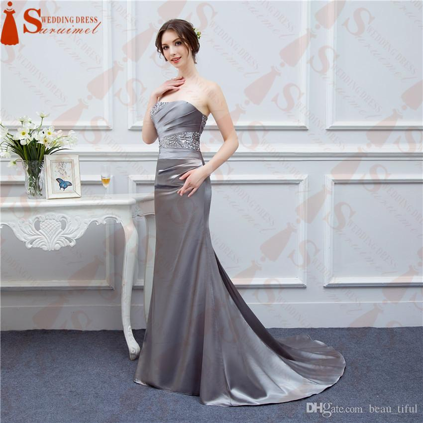 Gray Prom Dresses Satin Mermaid Beaded Cheap Party Dress Under 100