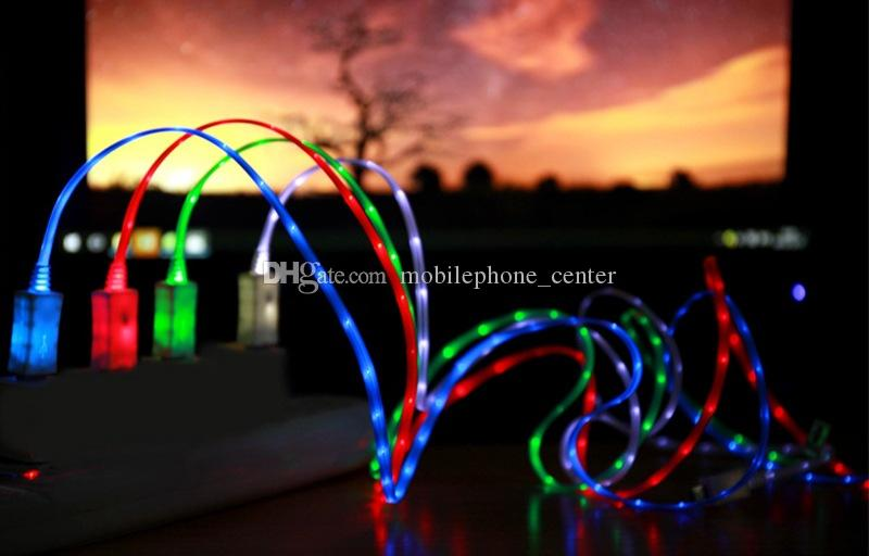 Flash USB Cable Universal EL Luminous LED Light Up Micro USB Data Sync Charge for Samsung HTC LG Phone