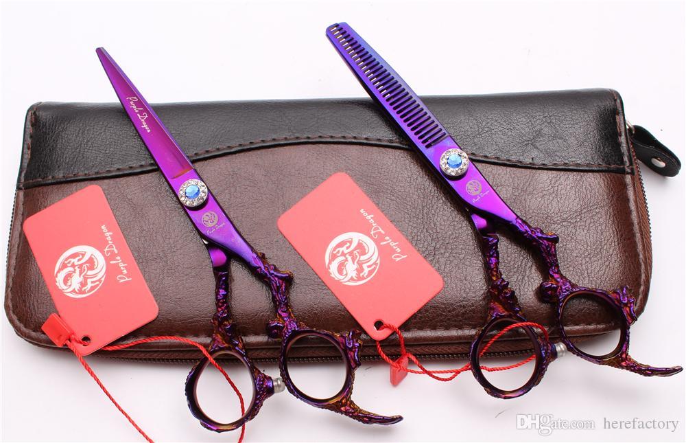 "Z9005 6"" 440C Purple Dragon Professional Human Hair Scissors Barbers' Hairdressing Scissors Cutting Thinning Shears Salon Style Tools"