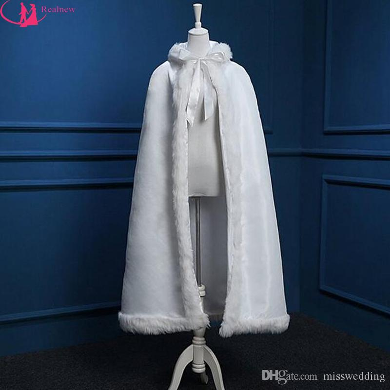 2016 Winter Style Warm Cape Hooded Short Bridal Cloak Custom Made Faux Fur Competitive Price Wedding Cloak White Ivory Available