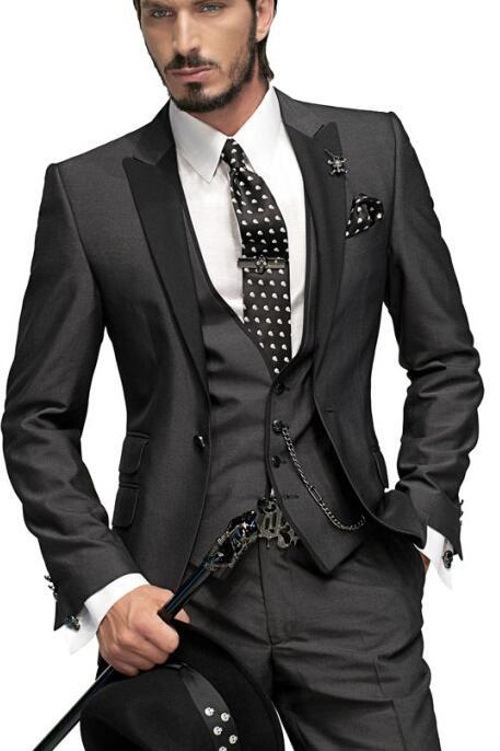 Groom Tuxedos Charcoal Grey One Button Peak Black Lapel Best Man ...