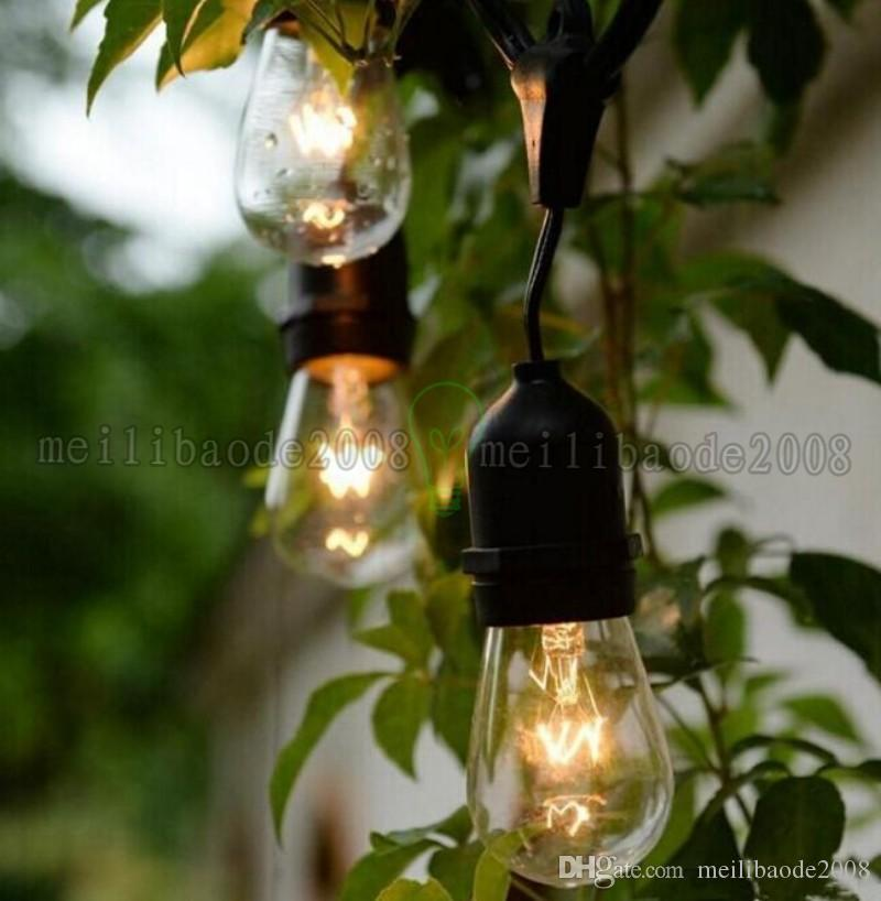 48 pies 14.8m Luz de cadena de vendimia al aire libre con 15 incandescentes 5W E27 Bulbos transparentes Black Plug-in Cord Globe Light String Set Myy161