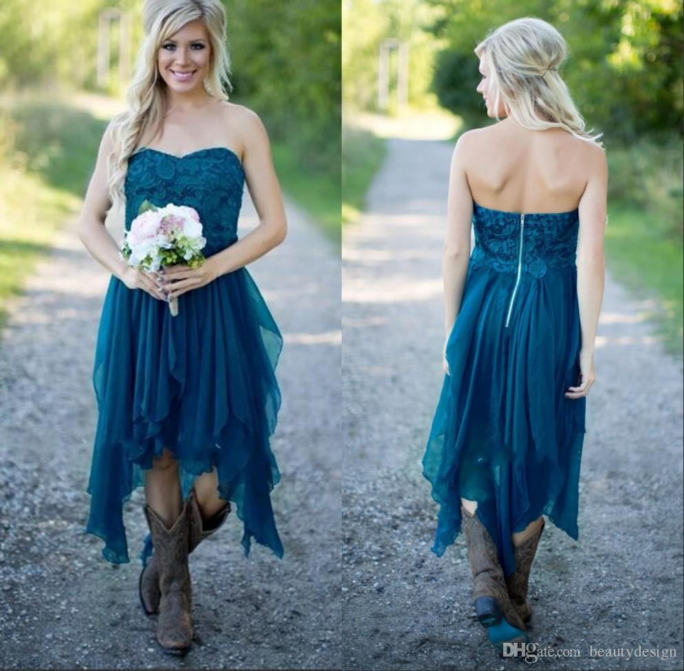 Teal high low country style bridesmaid dresses 2017 strapless a teal high low country style bridesmaid dresses 2017 strapless a line vintage lace chiffon maid of honor gowns formal party gowns for wedding ugly bridesmaid ombrellifo Images
