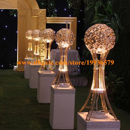 H27in Globe Stand Of Wedding Event Table Tall Centerpieces SILVER Or GOLD Crystal Metal Ball Candle Holder Centerpiece With