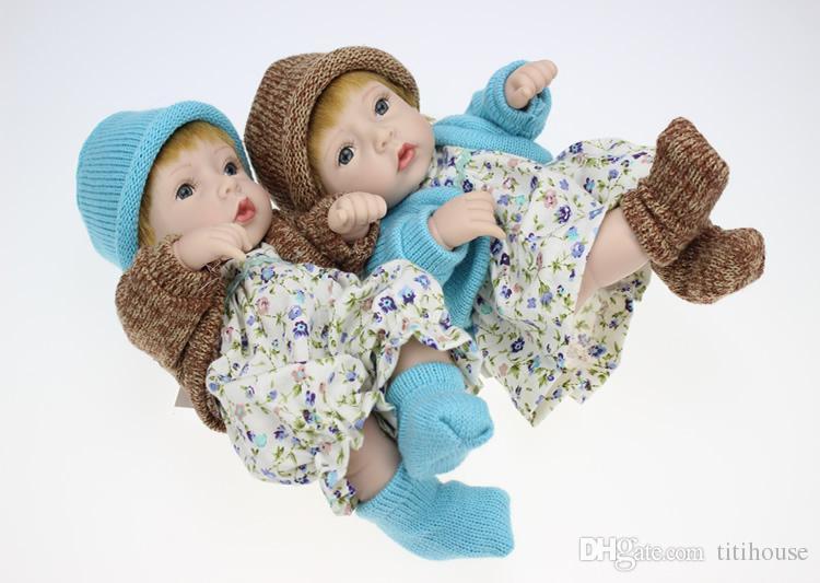 Kleine Erdnuss Alive Puppe Reborn Boy Babys 10 Zoll Ganzkörper Silikon Vinyl Neugeborene Puppen mit Kleidung Kinder Weihnachtsgeschenk