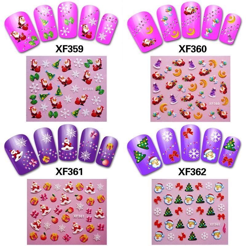 Wholesale 1 Sheet Women Navidad Nail Art Christmas Stickers Vignette