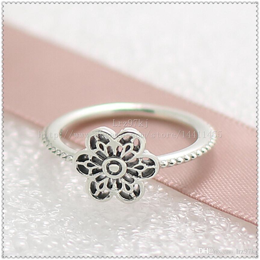 Mode-sieraden ring vrouwen ring Europese stijl hoogwaardige 100% 925 sterling zilveren bloemen daisy kant ring