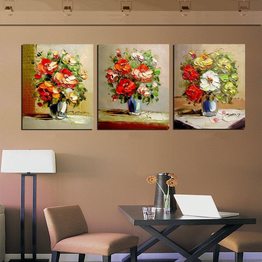 Unframed 3Pieces Home decoration free shipping Canvas Prints Imitation hand painted oil painting potted flower Porcelain vase mountain horse