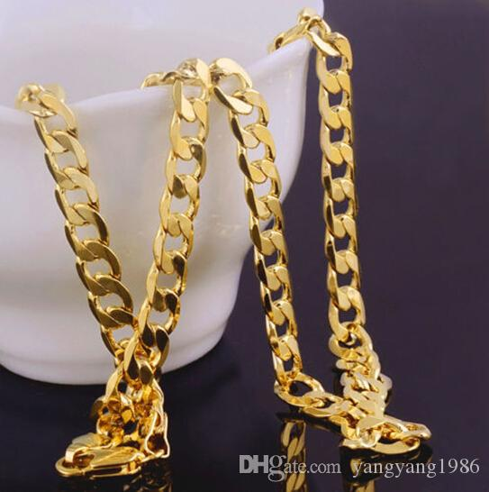 Solid 14k giallo catena d-oro Mens regalo di San Valentino compleanno prezioso oro vero al 100%, non è solido non soldi.